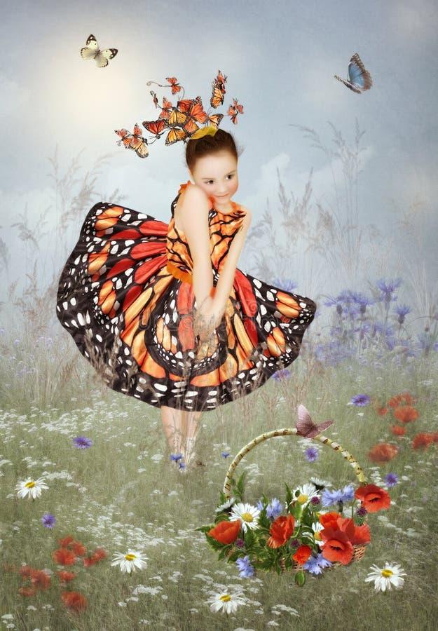 Liten flicka i fjärilar för en klänning arkivbild