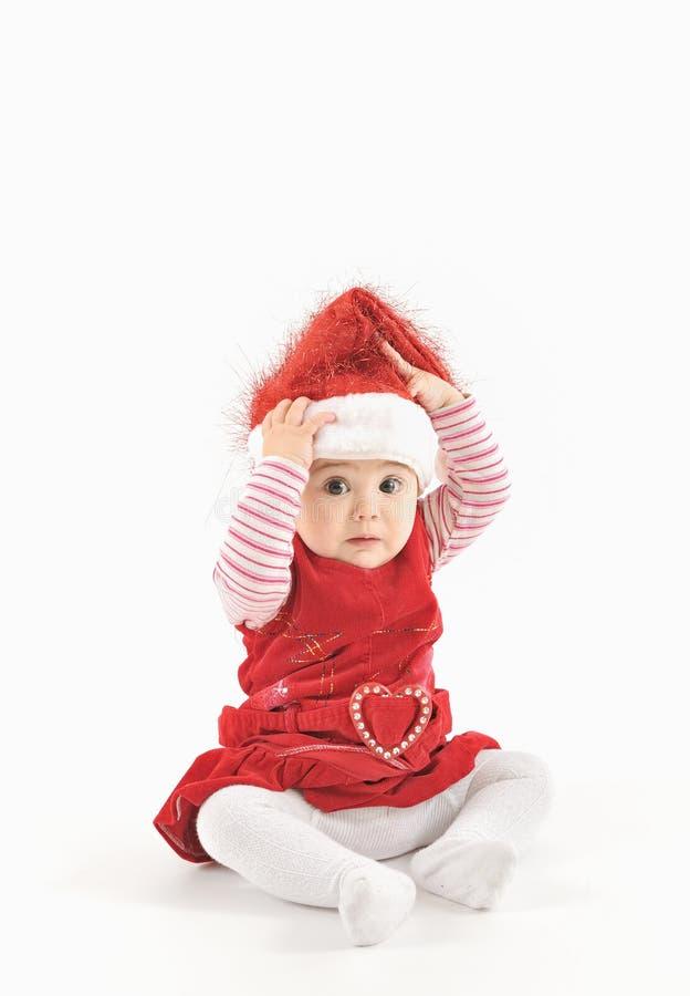 Liten flicka i jultid fotografering för bildbyråer