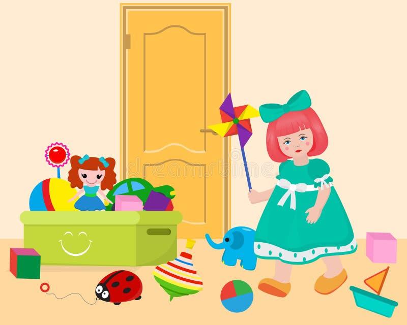 Liten flicka i modigt rum som spelar med leksaker på illustration för vektor för dörrbakgrundsbaner Ask med bollen, docka, bil royaltyfri illustrationer