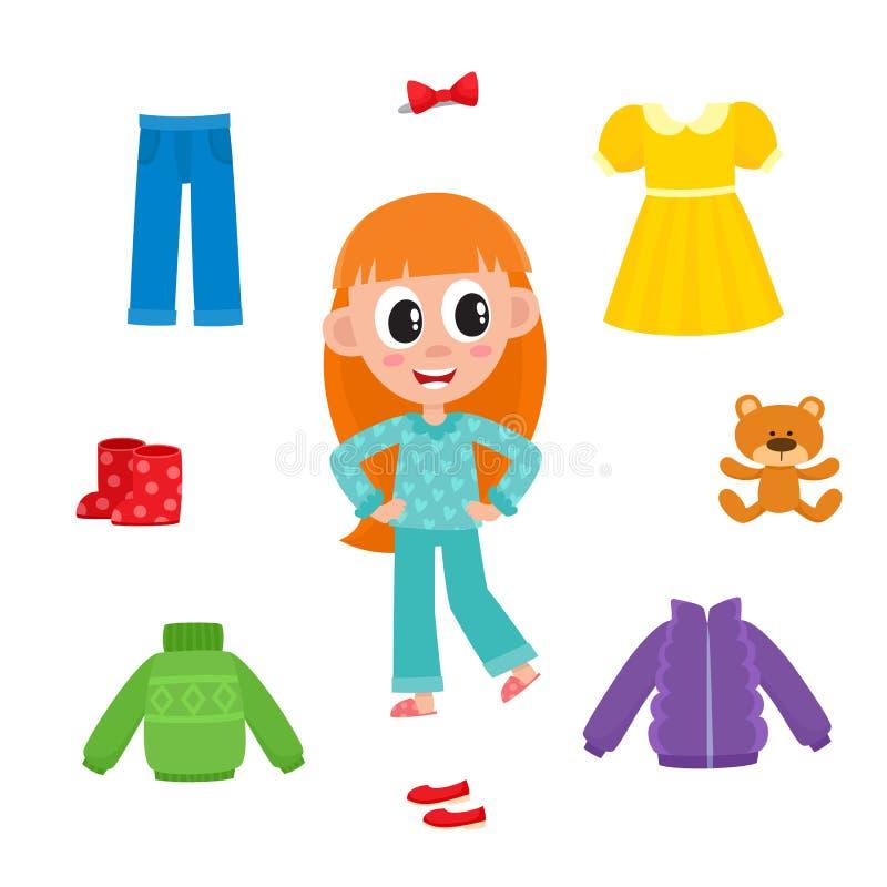 Liten flicka i pyjamas och hennes garderob, kläder royaltyfri illustrationer