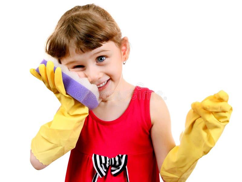 Liten flicka i Rubber handskar arkivbilder