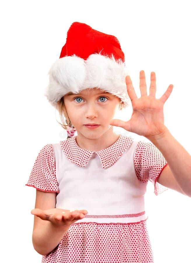 Liten flicka i Santa Hat arkivbild