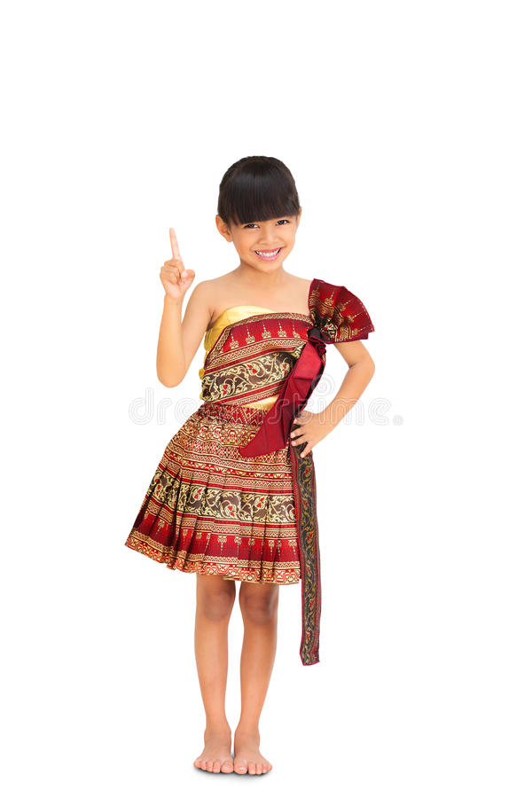 Liten flicka i traditionell thai kläder royaltyfri bild
