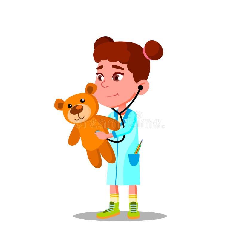 Liten flicka i vit lag- och stetoskoplekdoktor And Treats Her Toy Vector Flat Cartoon Illustration royaltyfri illustrationer