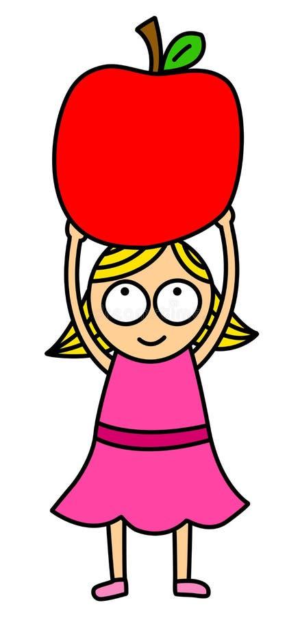 Liten flicka med äppleclipart royaltyfri illustrationer