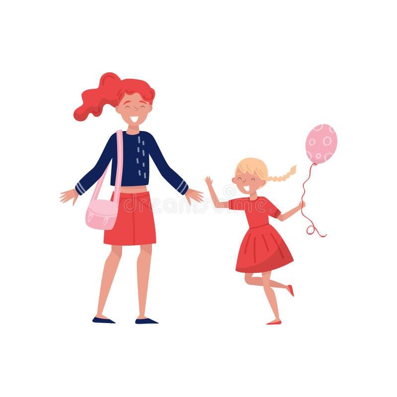 Liten flicka med ballongen i handspring in mot hennes mamma Gladlynt moder med sned boll-öppna armar Unge med den lyckliga framsi royaltyfri illustrationer
