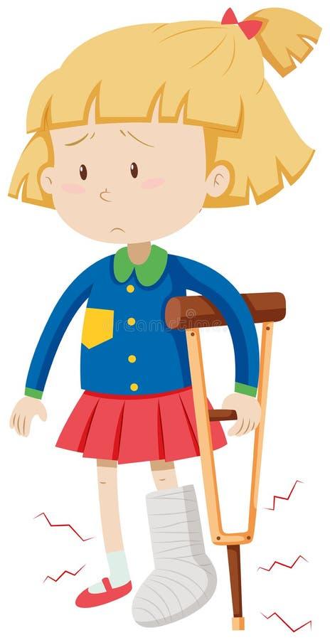 Liten flicka med benbrottet stock illustrationer