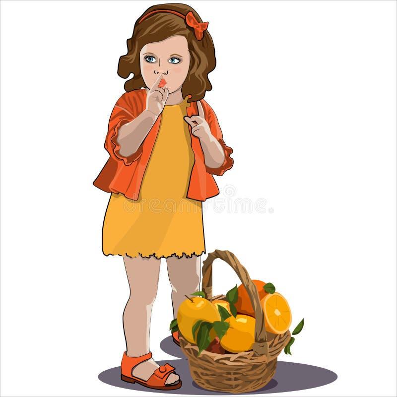 Liten flicka med brunt hår i en orange klänning med en korg av apelsinen stock illustrationer