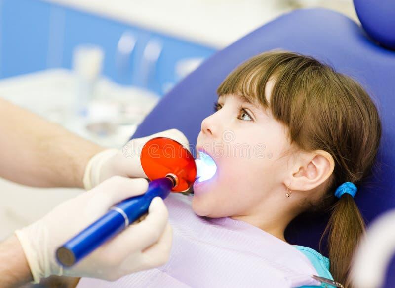 Liten flicka med den öppna munnen som mottar tand- fyllnads- uttorkningproc arkivbild