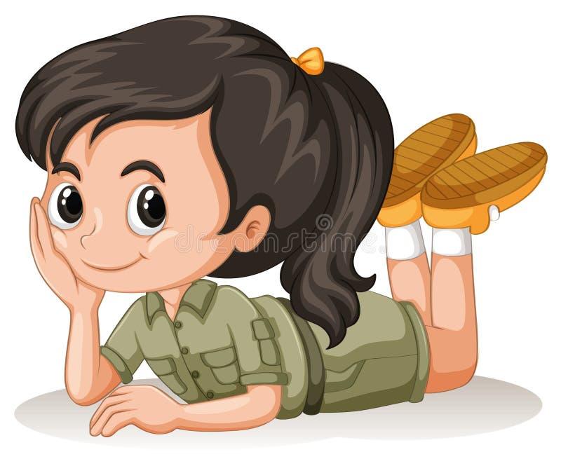 Liten flicka med den lyckliga framsidan stock illustrationer