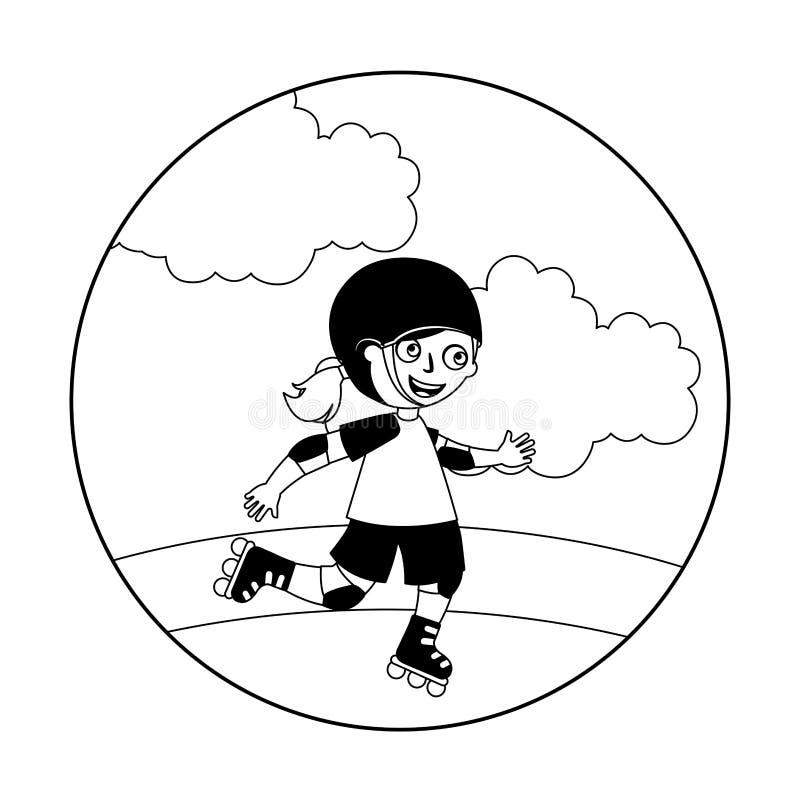 Liten flicka med den skridskor isolerade symbolen stock illustrationer