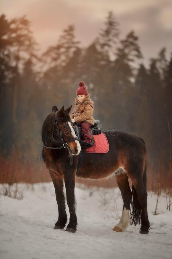 Liten flicka med den utomhus- ståenden för häst på vårdagen arkivfoto