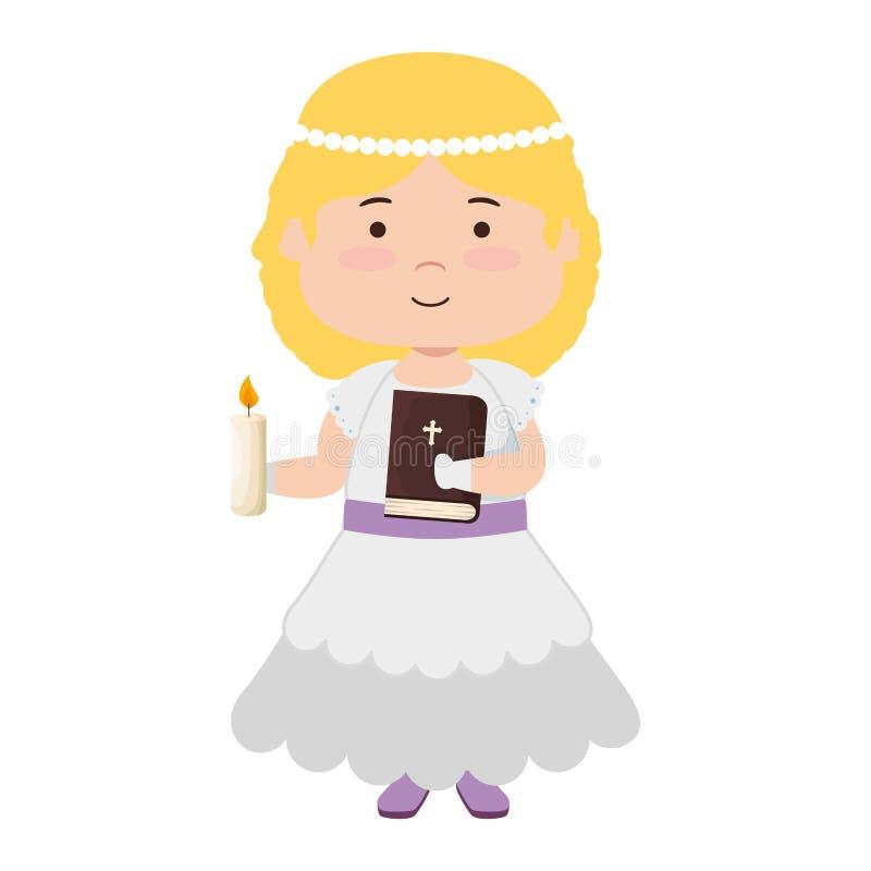 Liten flicka med det första nattvardsgångteckenet för helig bibel royaltyfri illustrationer