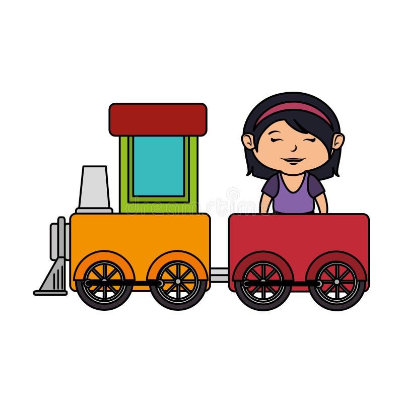 Liten flicka med drevet stock illustrationer