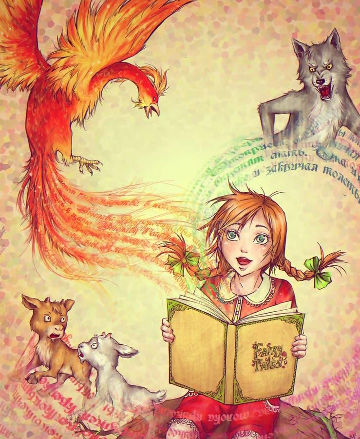 Liten flicka med en bok av sagor royaltyfri illustrationer
