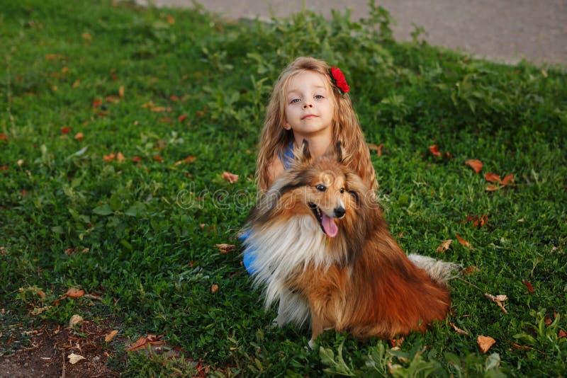 Liten flicka med en hund Sheltie royaltyfri foto
