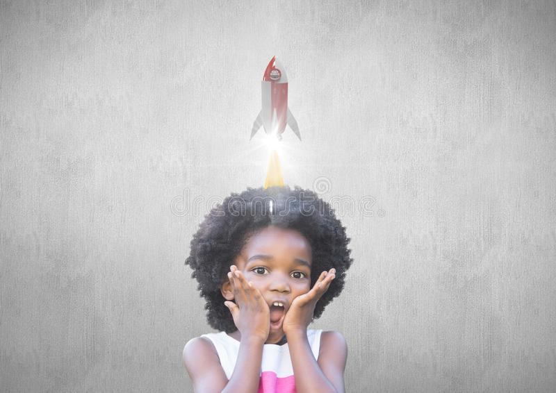 Liten flicka med en raket 3D ovanför hennes huvud royaltyfri illustrationer