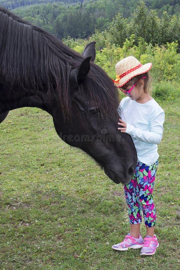 Liten flicka med en stor häst arkivbild