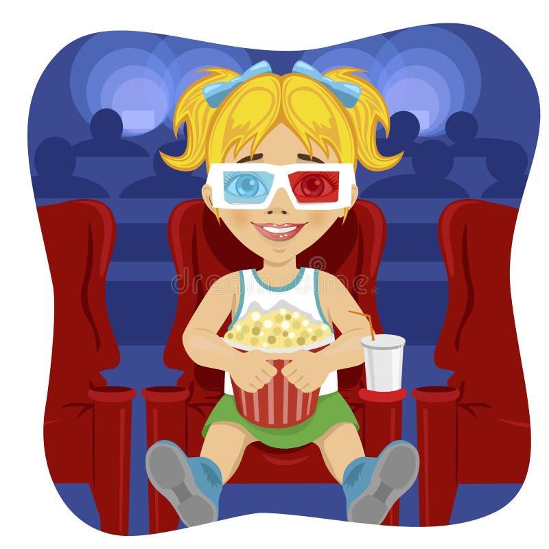 Liten flicka med exponeringsglas som 3d rymmer popcornsammanträde på stol i bio vektor illustrationer