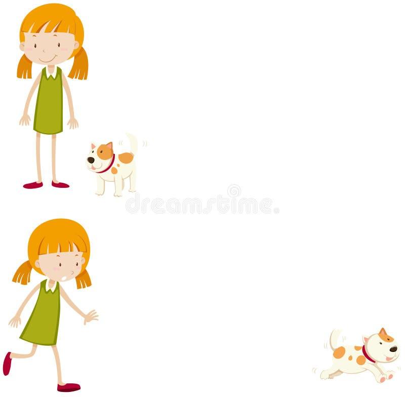 Liten flicka med hennes älsklings- hund vektor illustrationer