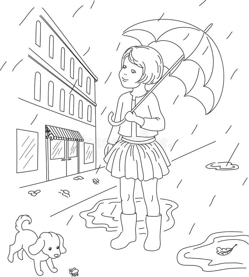 Liten flicka med hennes hund utanför royaltyfri illustrationer