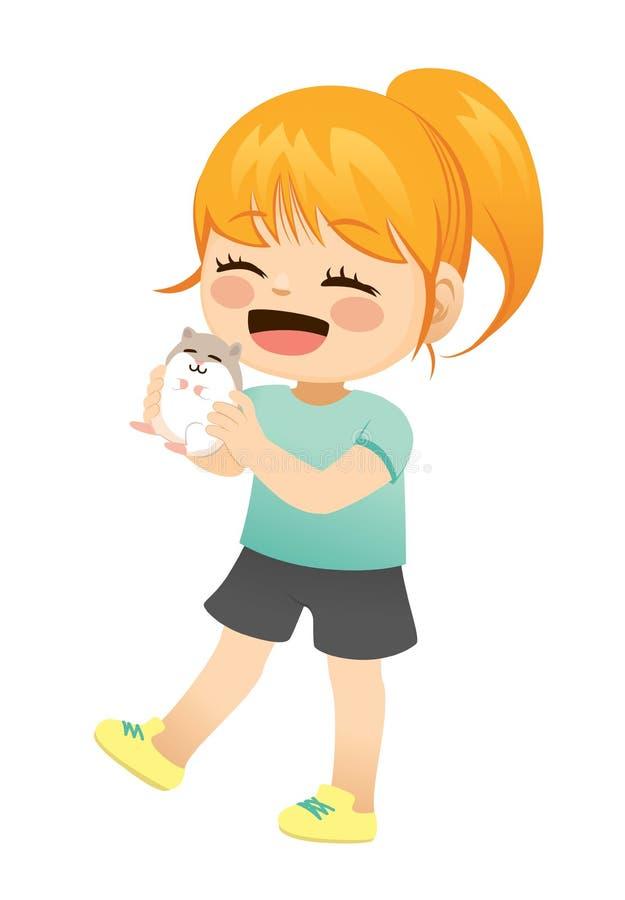 Liten flicka med husdjurhamstern stock illustrationer
