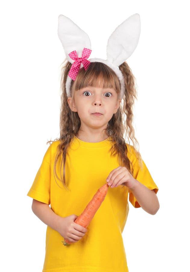 Liten flicka med kaninöron arkivfoto