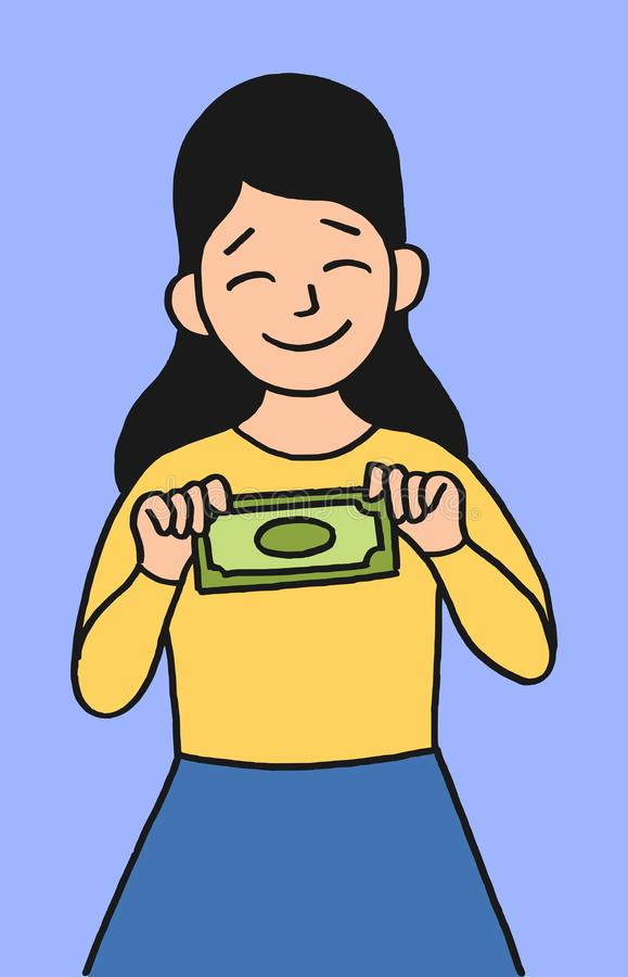 Liten flicka med pengar royaltyfri illustrationer