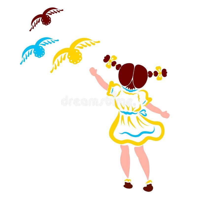 Liten flicka med två råttsvansar och tre flyga fåglar royaltyfri illustrationer