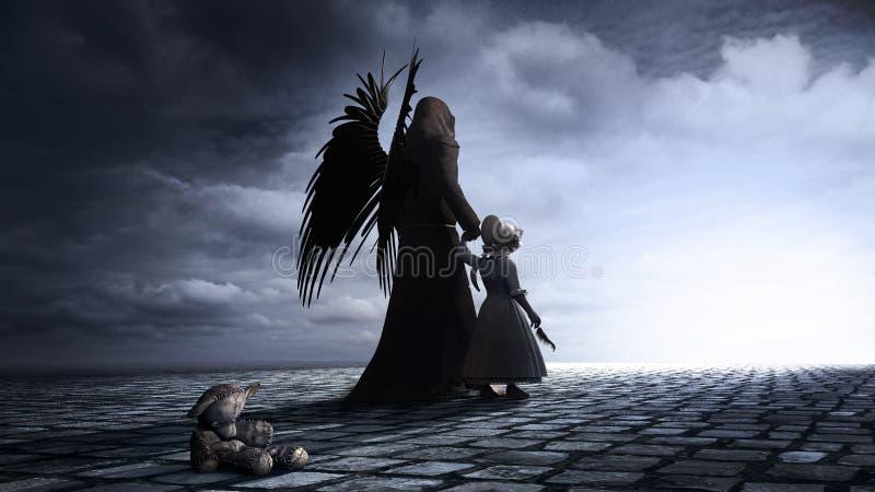 Liten flicka och ängel royaltyfri illustrationer