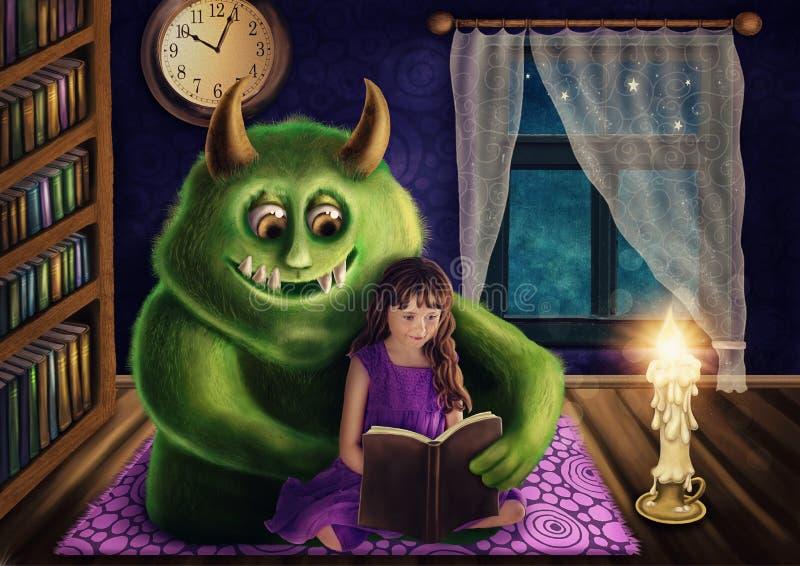 Liten flicka och ett grönt monster royaltyfri illustrationer