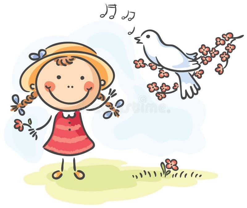 Liten flicka och fågel vektor illustrationer