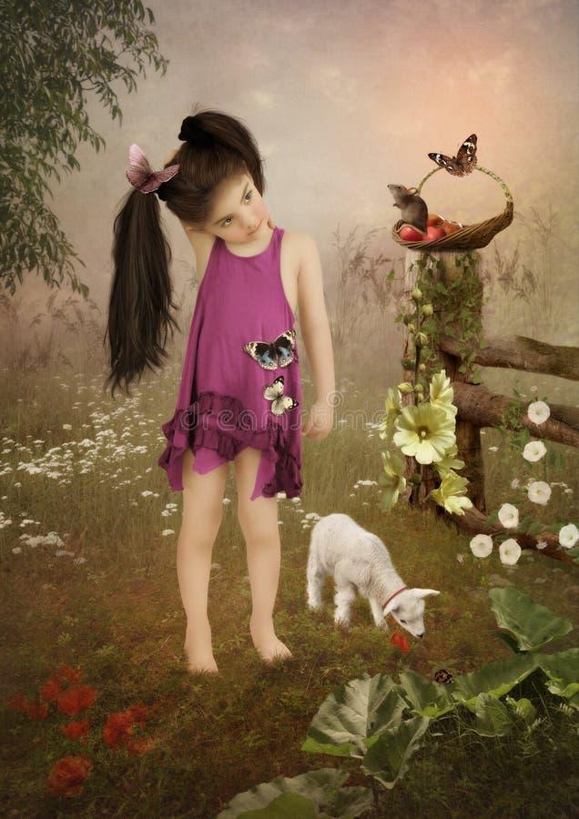Liten flicka och goatling arkivbilder