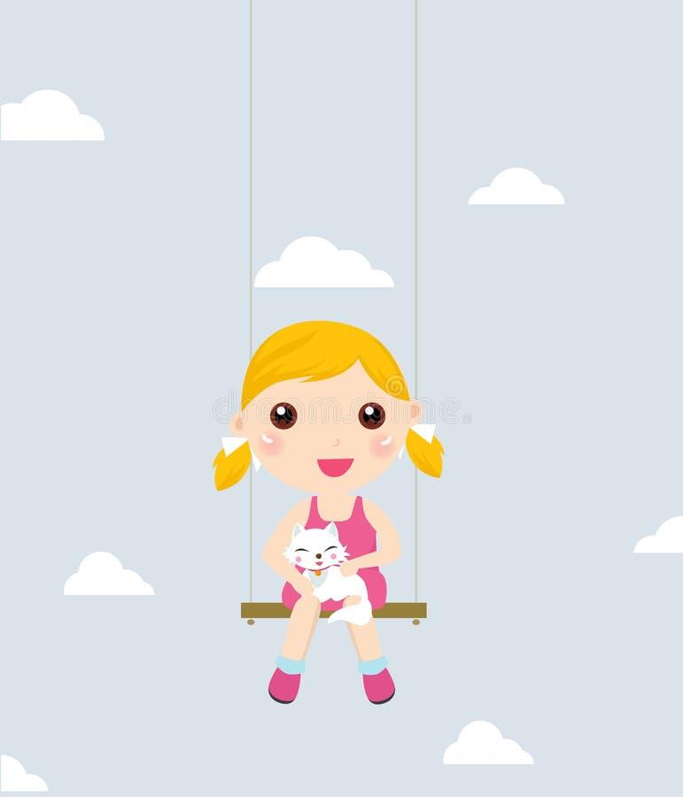 Liten flicka och katt på en swing royaltyfri illustrationer