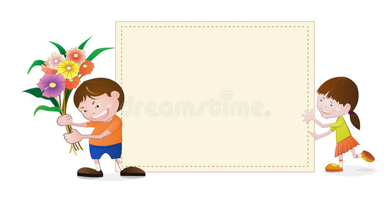 Liten flicka och pojke med tomt papper royaltyfri illustrationer