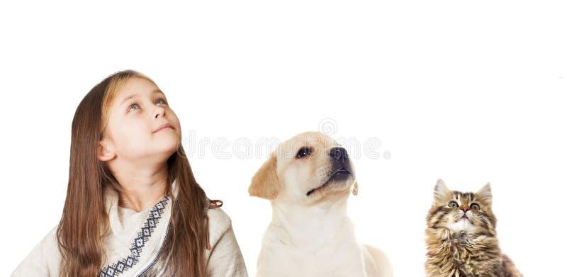 Liten flicka och valp och kattunge arkivbild