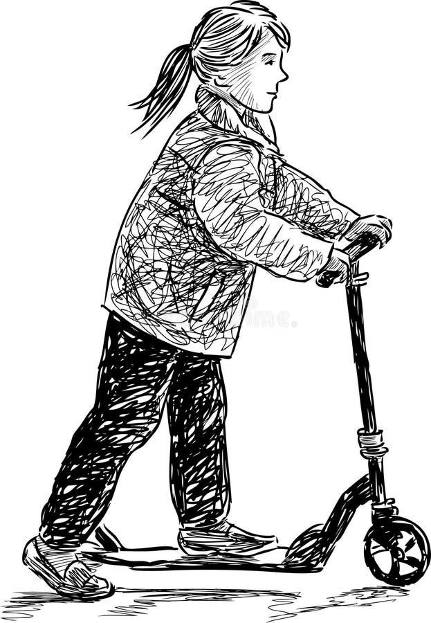 Liten flicka på en sparkcykel royaltyfri illustrationer