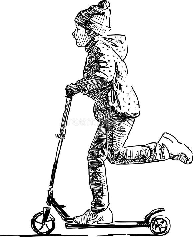 Liten flicka på en sparkcykel stock illustrationer
