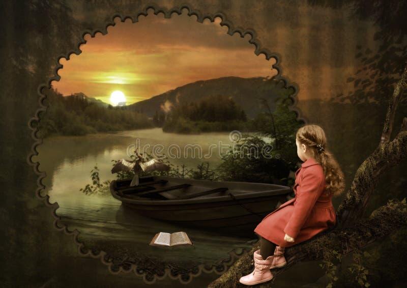 Liten flicka på solnedgången royaltyfri illustrationer