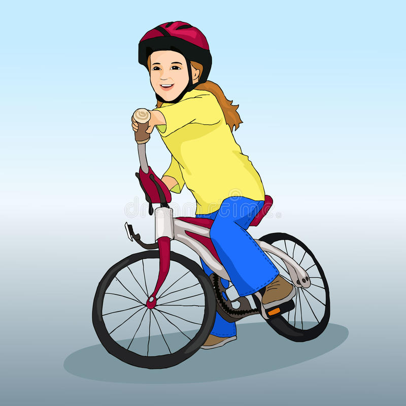 Liten flicka rider en cykel Sportlivsstil hobby barnillustration s stock illustrationer