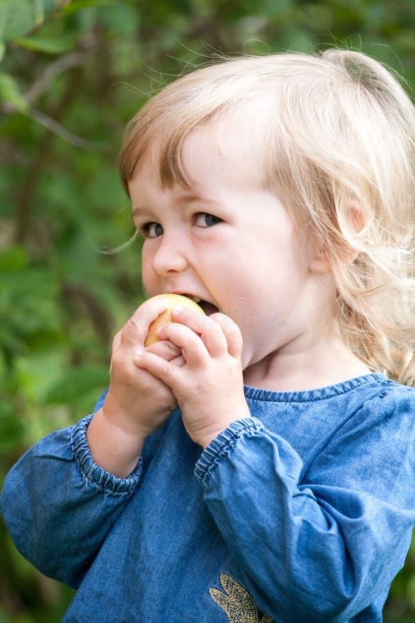 Liten flicka som äter äpplecloseupståenden fotografering för bildbyråer