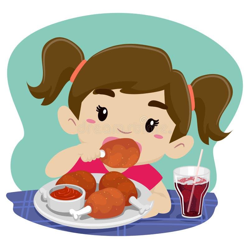 Liten flicka som äter höna med sodavatten royaltyfri illustrationer