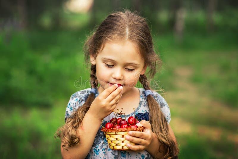 Liten flicka som äter körsbär från en korg på naturen royaltyfria bilder