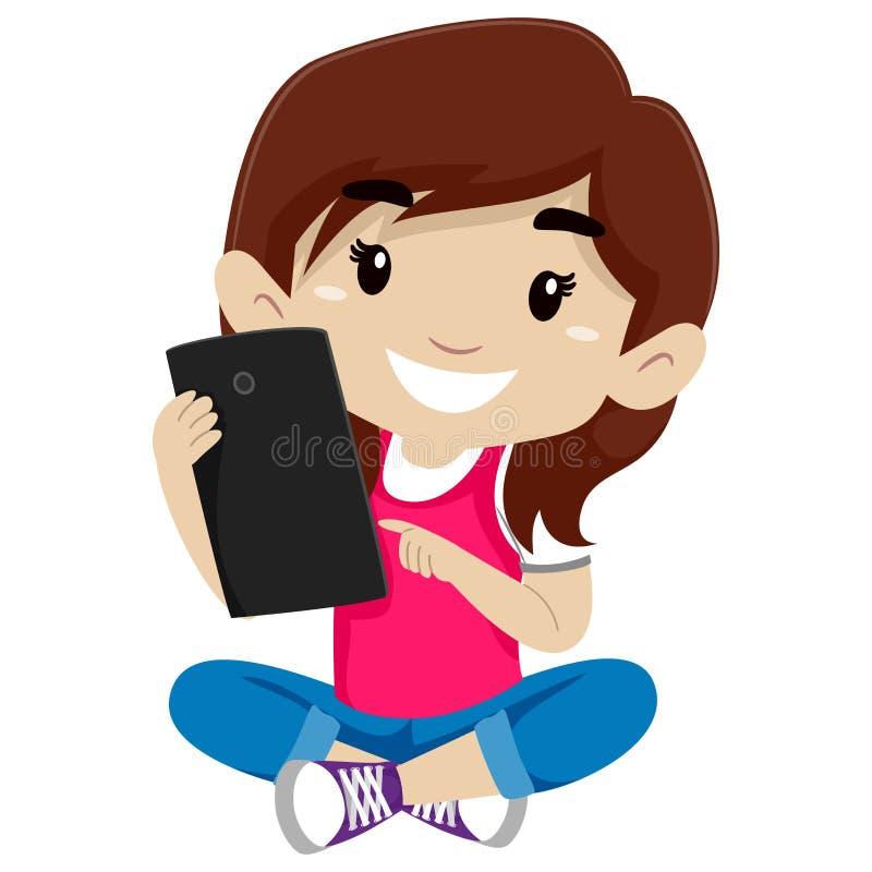 Liten flicka som använder en minnestavla stock illustrationer