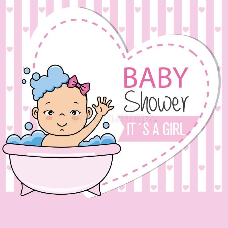 liten flicka som badar i badkaret stock illustrationer