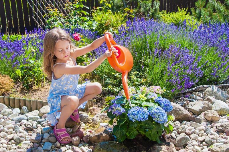 Liten flicka som bevattnar blommor i en trädgård royaltyfria bilder