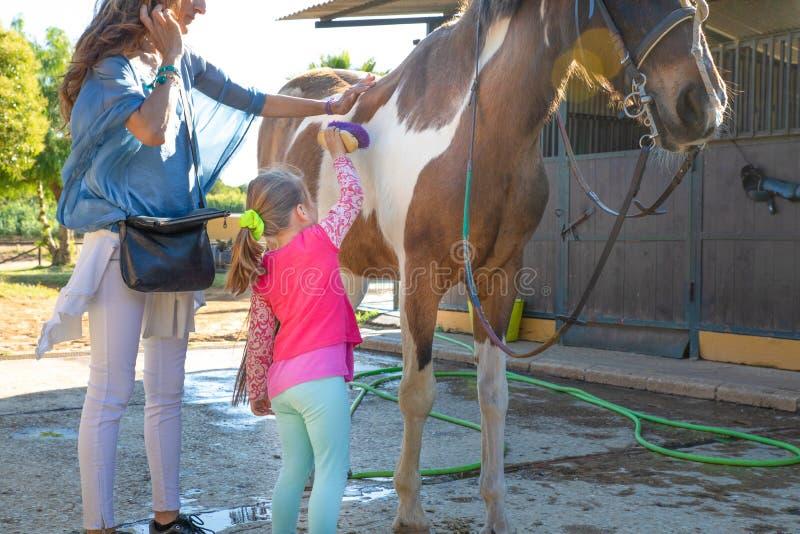 Liten flicka som borstar en häst med hennes moder bredvid stall arkivbilder