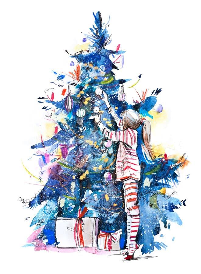 Liten flicka som dekorerar julträdet med leksaker och struntsaker nytt år Unge som hem förbereder sig för xmas-beröm royaltyfri foto