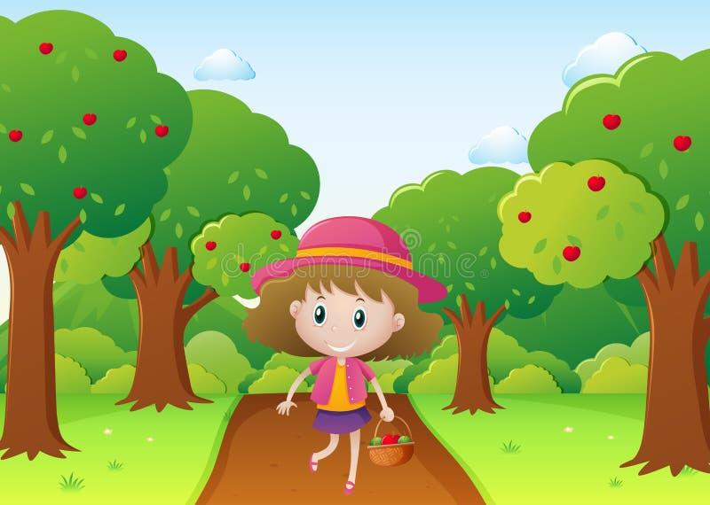 Liten flicka som går i äpplefruktträdgård vektor illustrationer