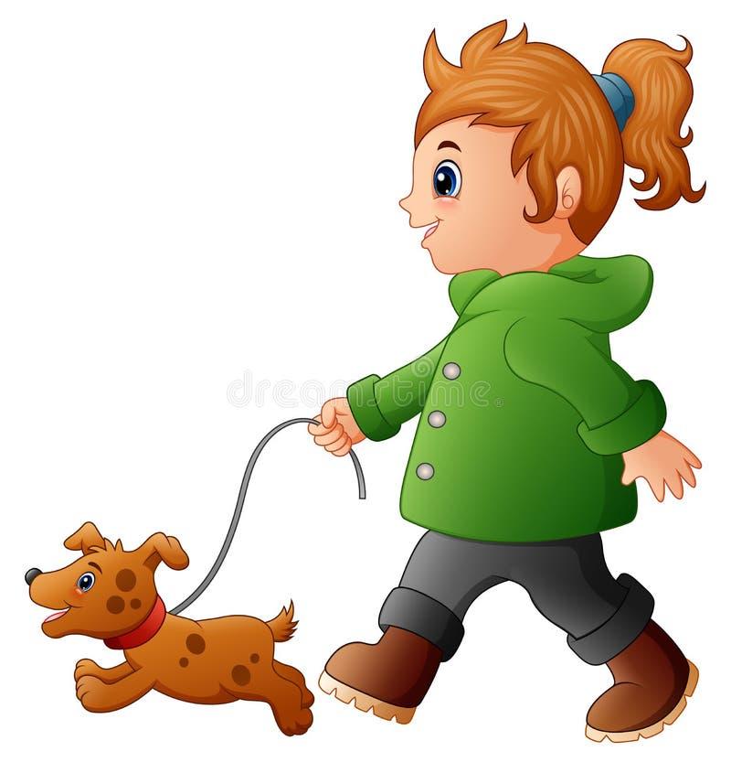 Liten flicka som går med hans hund royaltyfri illustrationer
